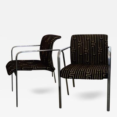 Peter Protzman Mid Century Modern Velvet Chrome Armchairs for Herman Miller