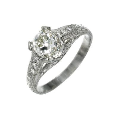 Peter Suchy Peter Suchy 1 34 Carat Cushion Cut Diamond Platinum Engagement Ring