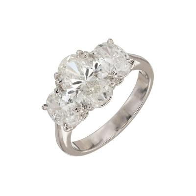 Peter Suchy Peter Suchy 2 01 Carat Oval Diamond Platinum Three Stone Engagement Ring