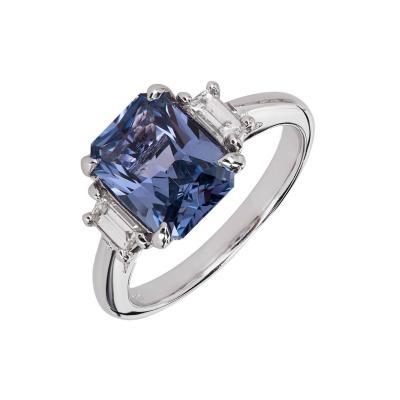 Peter Suchy Peter Suchy 2 56 Carat Sapphire Diamond Platinum Three Stone Engagement Ring