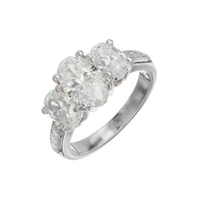 Peter Suchy Peter Suchy 2 58 Carat Oval Diamond Three Stone Platinum Engagement Ring