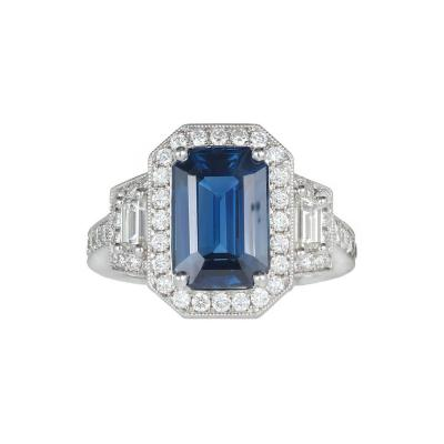 Peter Suchy Peter Suchy 3 88 Carat Sapphire Halo Diamond Platinum Engagement Ring