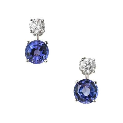 Peter Suchy Peter Suchy 6 49 Carat Blue Tanzanite Diamond Dangle Platinum Earrings