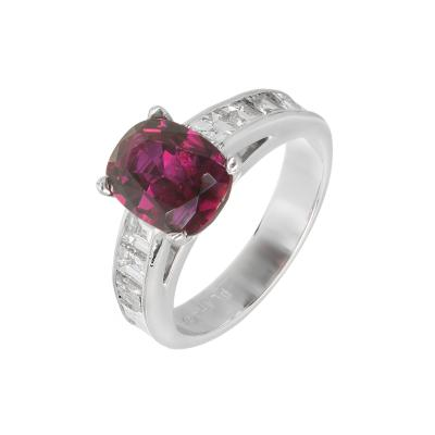 Peter Suchy Peter Suchy GIA Certified 2 68 Carat Cushion Ruby Diamond Platinum Engagement