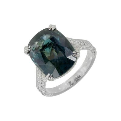 Peter Suchy Peter Suchy GIA Certified 9 74 Carat Sapphire Diamond Platinum Engagement Ring
