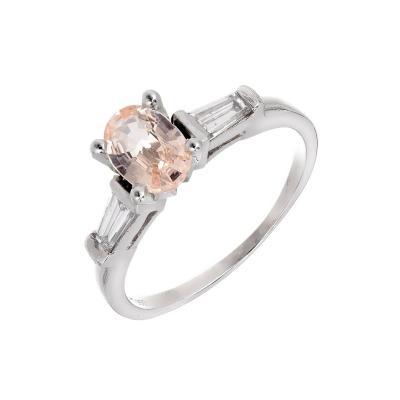 Peter Suchy Peter Suchy GIA Certified Orange Sapphire Diamond Platinum Engagement Ring