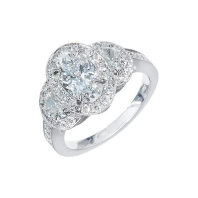 Peter Suchy Peter Suchy Oval Diamond Half Moon Triple Halo Platinum Engagement Ring