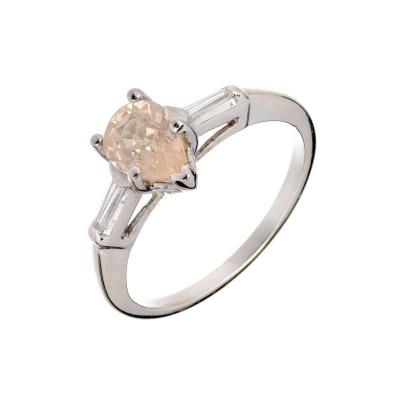 Peter Suchy Peter Suchy Pear Light Yellow Sapphire Diamond Gold Engagement Ring