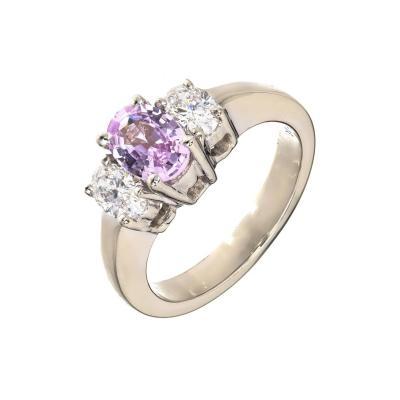 Peter Suchy Peter Suchy Pink Purple Sapphire Diamond Gold Three Stone Engagement Ring