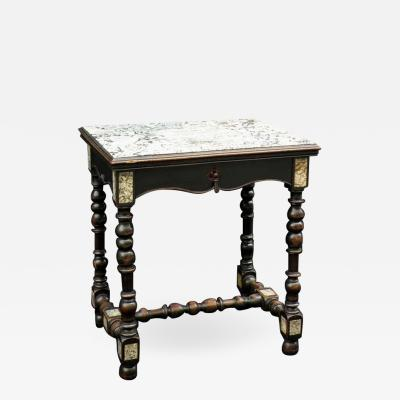 Petite 19th Century Louis XIII Style Ebonized Marble Top Center Table
