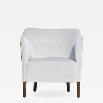 Petite Art Deco Danish Accent Chair in Mist Mohair