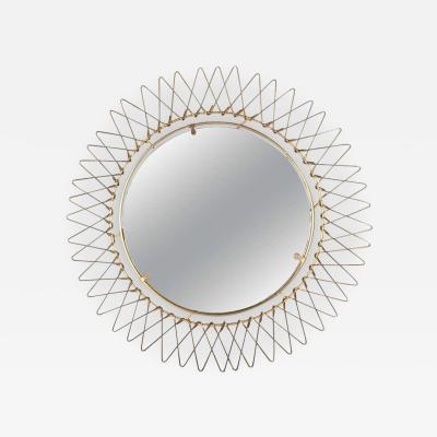 Petite French Brass Wire Starburst Mirror