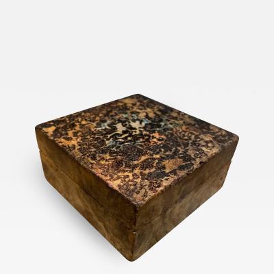 Petite Goatskin Embellished Wood Trinket Secret Box Mexico City 1960s