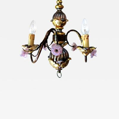 Petite Italian Tole Painted Chandelier with Pink Murano Flowers