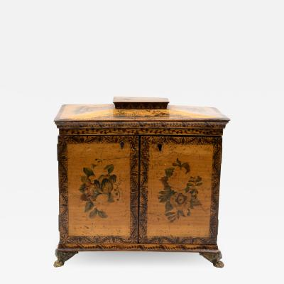 Petite Painted Table Cabinet With Decorative Painting On All Sides