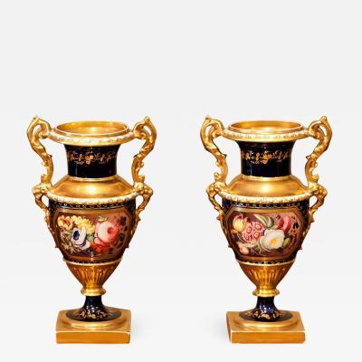 Petite Pair of English Hard Paste Porcelain Vases