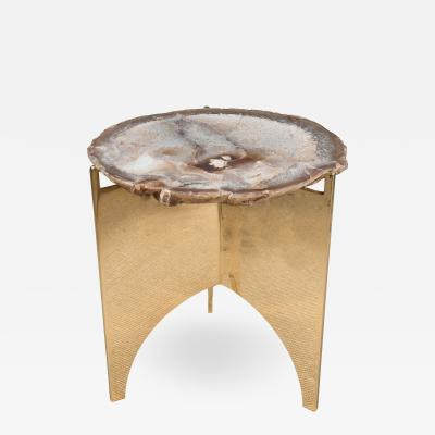 Petrified Wood Table with Mirrored Polish Finish and Bronze Base