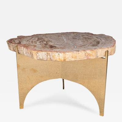 Petrified Wood and Mirror Polished Bronze Occasional Table