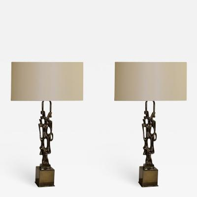 Ph Glapineau Pair of Black Nickel Bronze Table Lamps