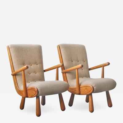 Philip Arctander Pair of Scandinavian Armchairs in the Style of Philip Arctander