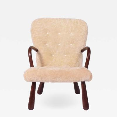Philip Arctander Sheepskin Clam Easy Chair Attributed to Philip Arctander