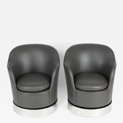 Philip Enfield Pair of Philip Enfield Tilt and Swivel Barrel Chairs On Casters