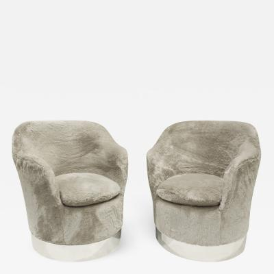 Philip Enfield Phillip Enfield Pair Of Upholstered Swiveling and Tilting Lounge Chairs 1970s