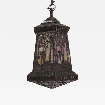 Philip Handel American Art Nouveau Period Reverse Hand Painted Hanging Lamp by Handel