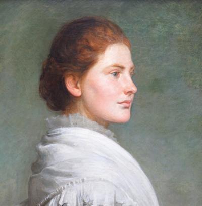 Philip Hermogenes Calderon Carnations 19th Century Oil Painting Portrait of Society Beauty