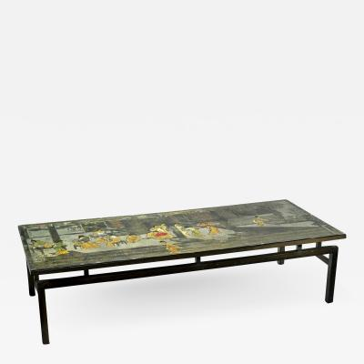 Philip Kelvin LaVerne Etched Brass and Wood Laverne Coffee Table