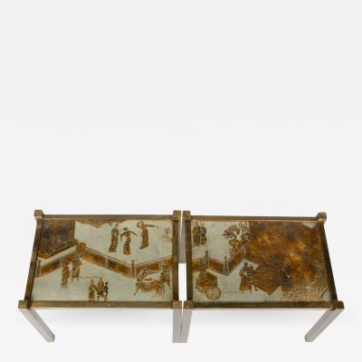 Philip Kelvin LaVerne Pair of Etched Bronze Side Tables by Philip and Kelvin LaVerne USA 1960s