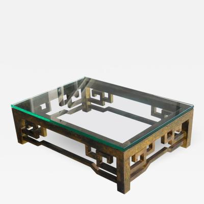 Philip Kelvin LaVerne Patinated Brass Low Coffee Table with Greek Key Design Laverne Style