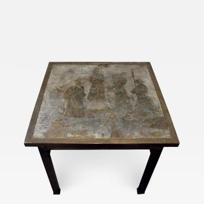 Philip Kelvin LaVerne Philip Kelvin LaVerne Table Ming 131 in Pewter and Bronze 1960s signed