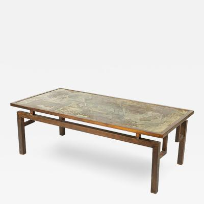 Philip Kelvin LaVerne Philip and Kelvin LaVerne Chan Etched Bronze Coffee Table