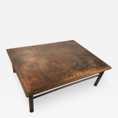 Philip Kelvin LaVerne Philip and Kelvin LaVerne Classical Motif Acid Etched Bronze Coffee Table