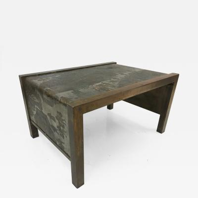 Philip Kelvin LaVerne Philip and Kelvin LaVerne Etched Bronze Waterfall Side Table
