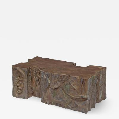 Philip Kelvin LaVerne Philip and Kelvin Laverne Custom Bronze Sculpted Relief Coffee Table 1969