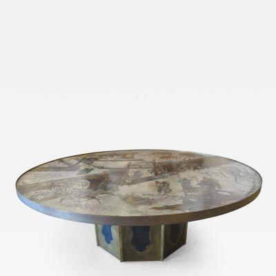 Philip Kelvin LaVerne Philip and Kelvin Laverne Large Bronze and Enameled Chan Table USA