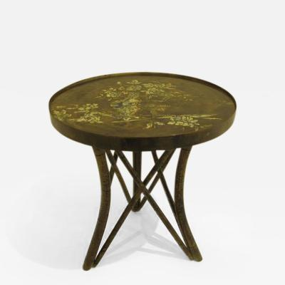 Philip Kelvin LaVerne Rare Acid Etched Asian Style Cocktail Table by Philip and Kelvin Laverne