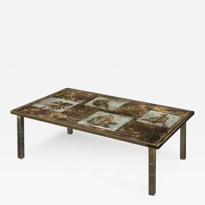 Philip Kelvin LaVerne Rare Coffee Table with Female Nudes by Philip and Kelvin LaVerne