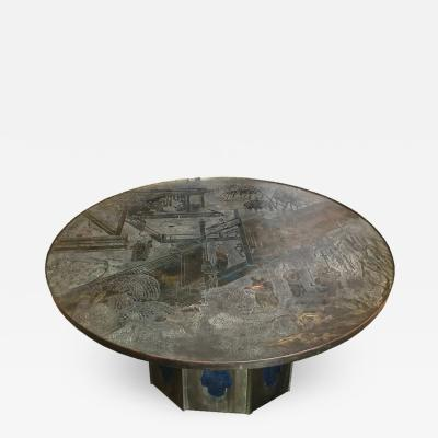 Philip Kelvin LaVerne Round Etched Bronze Pedestal Coffee Table by Philip and Kelvin LaVerne