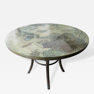 Philip Kelvin LaVerne Signed Circular Laverne Table