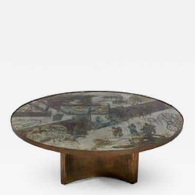Philip and Kelvin LaVerne Acid etched and brass Chan circular coffee table by Philip and Kelvin LaVerne