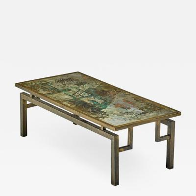 Philip and Kelvin LaVerne Beautiful Acid Etched and Patinated Bronze Chan coffee table