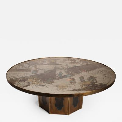 Philip and Kelvin LaVerne Exceptional Large Bronze Chan Cocktail Table by Philip Kelvin Laverne