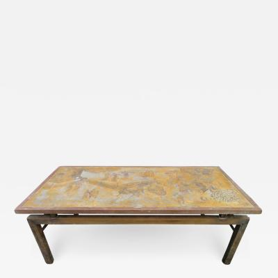 Philip and Kelvin LaVerne Fantastic Acid Etched Asian Inspired Coffee Table by Phillip and Kelvin Laverne