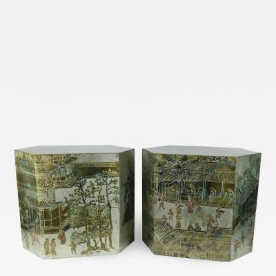 Philip and Kelvin LaVerne LaVerne Bronze Pewter Chan Series Side Tables
