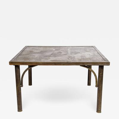 Philip and Kelvin LaVerne Mid Century Acid Etched Cocktail Chan Series Table by Philip Kelvin LaVerne