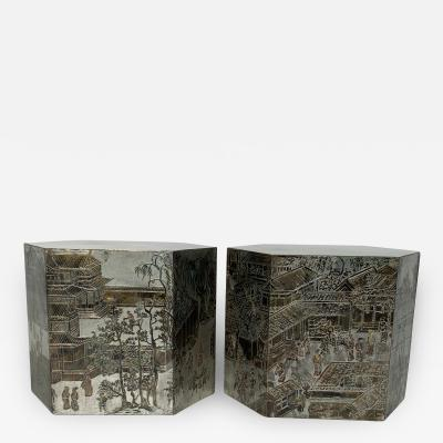 Philip and Kelvin LaVerne Pair LaVerne Side End Tables in Etched Bronze