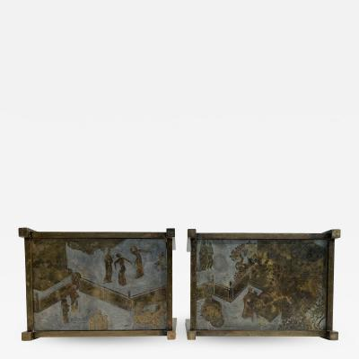 Philip and Kelvin LaVerne Pair of Chan Chinoserie Etched Brass Tables